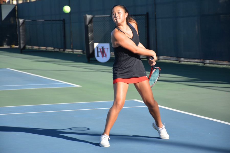 Amanda Chan '19 hits a backhand  in last season's  13-5 victory over Notre Dame on Oct. 1