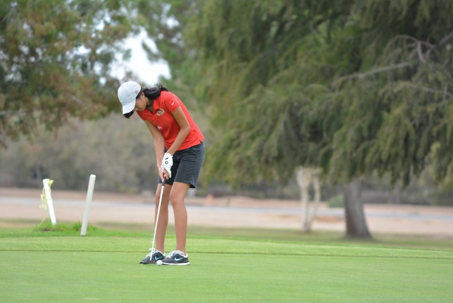 Chantalle Wang '17 putts the ball during the Wolverines' victory during the midseason tournament on Sept. 20.  Credit: Aaron Park/ Chronicle