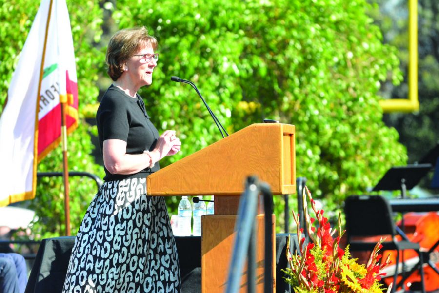 Huybrechts delivers her last convocation speech. Credit: Aaron Park/Chronicle