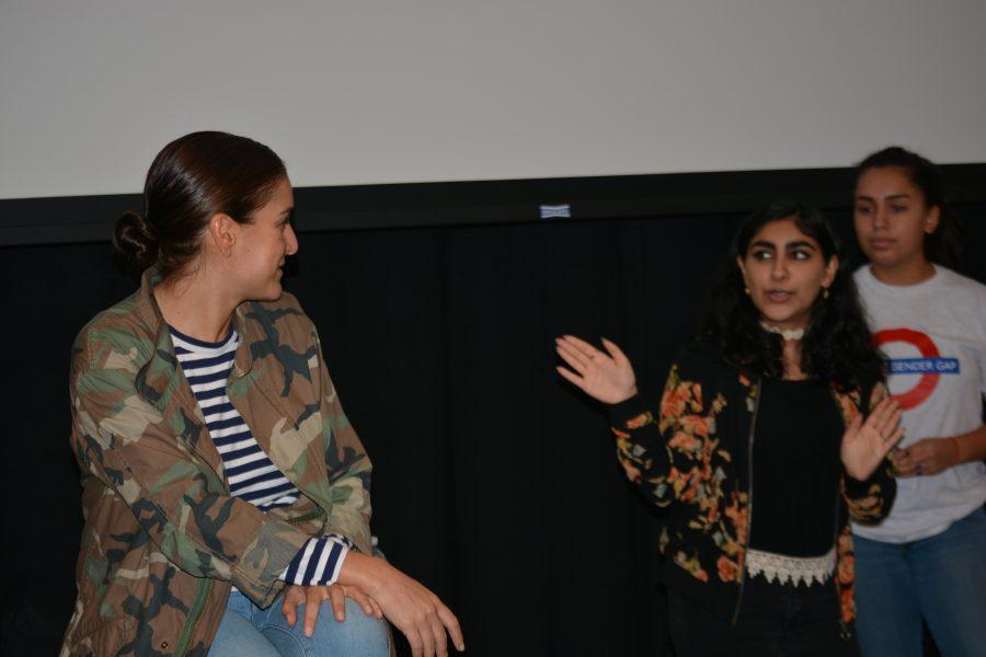 La Femme club leader Sohni Kaur '17 led the discussion with guest Celine Khavarani '95. Credit: Sophie Haber/Chronicle