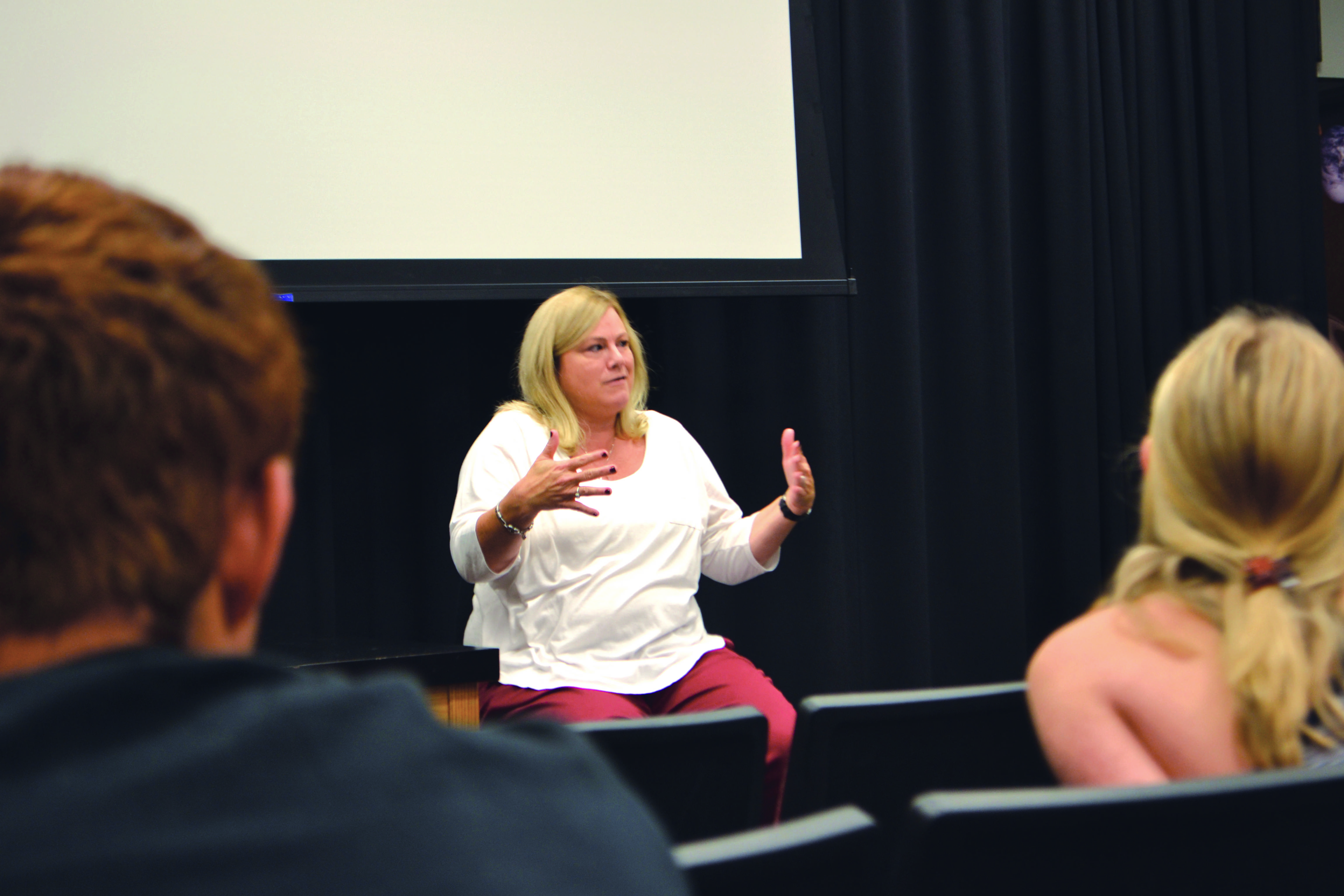 Assistant to the Head of Upper School Michele Bracken leads the follow up discussion in Ahmanson during Activities Nov. 7. Faculty and students discussed miscroaggressions brought up by the video and brainstormed solutions for the school. Credit: Nicole Kim/Chronicle