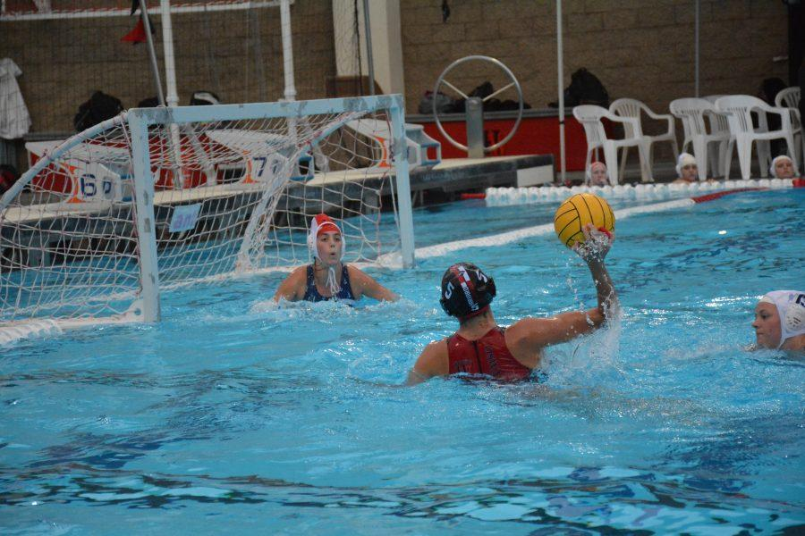 Camille Oswald 17 takes a shot on goal against Marymount during the league opener. Credit: Matthew Yam/Chronicle