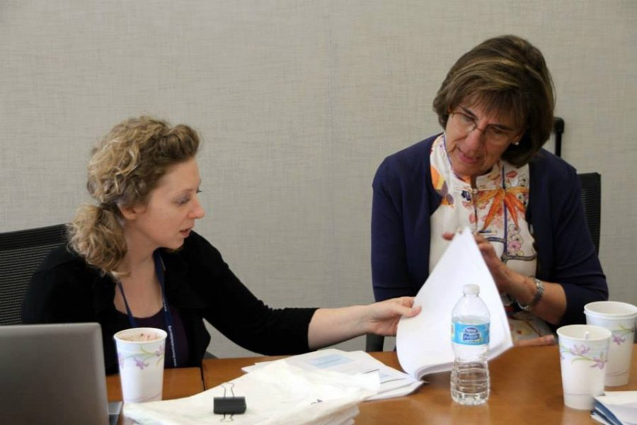 La Femme Speaker Victoria Fox discusses the importance of stem cell research and the significance of women being represented in STEM fields with Head of School Jeanne Huybrechts before the official La Femme meeting Jan. 9. Credit: Printed with permission of Daria Arzy