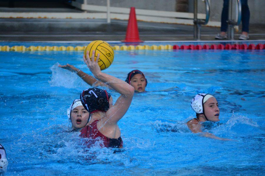 Paige Thompson '17 takes a shot on goal in the Mission League tournament final against Alemany. Credit: Ellis Becker/Chronicle