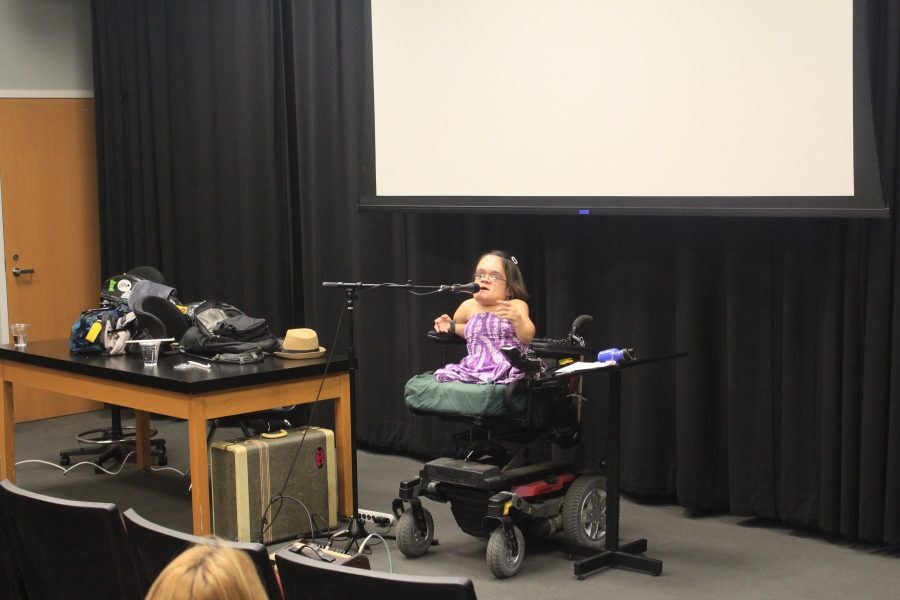 Violinist and disability advocate Gaelynn Lea speaks to La Femme on March 27. Printed with permission of Kate von Mende.