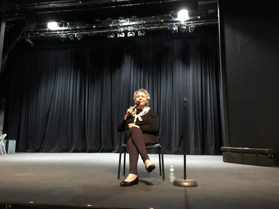 Holocaust survivor Michele Rodri speaks to the sophomore class during their class meeting March 29. Credit: Sofia Heller/Chronicle