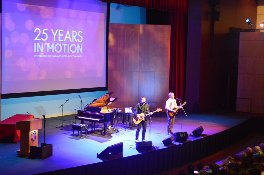 Members of the band Blink-182 perform at an event commemorating the 25th anniversary of Harvard-Westlake's first combined graduation class. Credit: Jenny Li/Chronicle