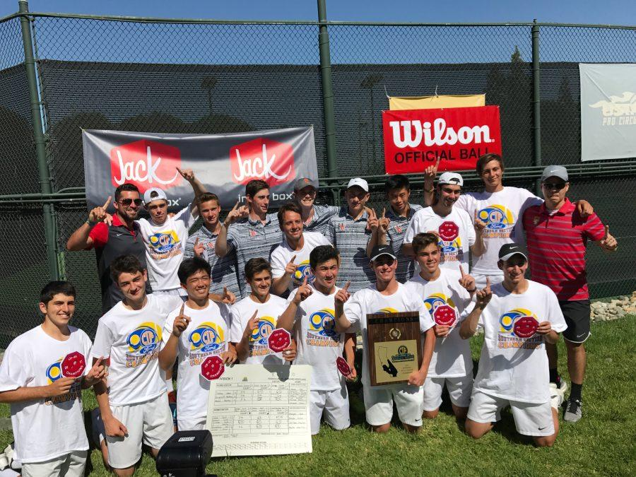 The boys' tennis team celebrates their victory. Printed with permission of Alison Kronenberg.