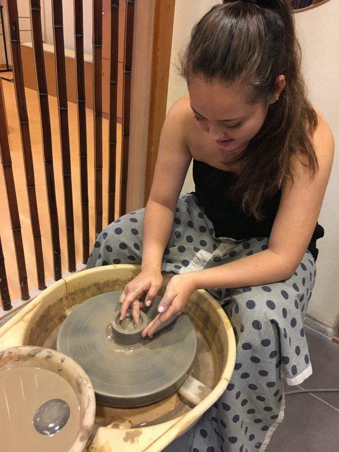 Chronicle Print Managing Editor Alena Rubin '18 makes pottery in Japan. Photo printed with permission of Alena Rubin '18.