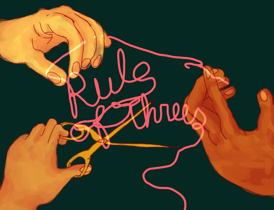 """PLAYING BY THE RULES: Esther Grover '19 created an illustration for a poster for """"Rule of Threes,"""" Uriah Celaya '18's play about three sisters who control the strings of mortals' fates. The play was shown at the Short New Play Festival in New York City. Credit: Esther Grover 19"""