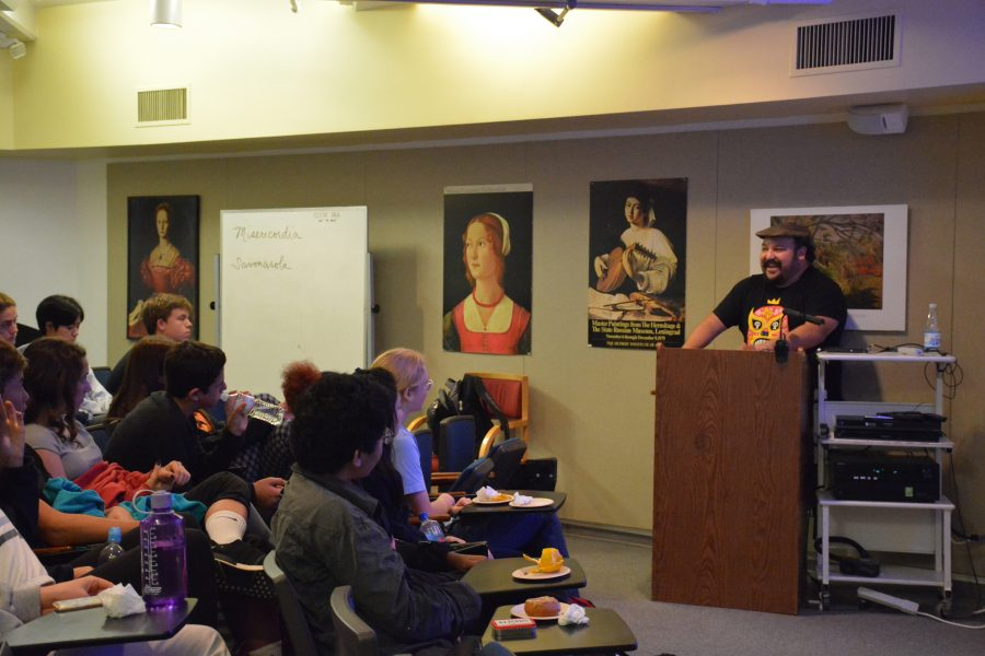 Jorge R. Gutiérrez speaks to students about his experiences working as an animator, and how they can pursue a career in art. Photo credit: Saba Nia/Chronicle