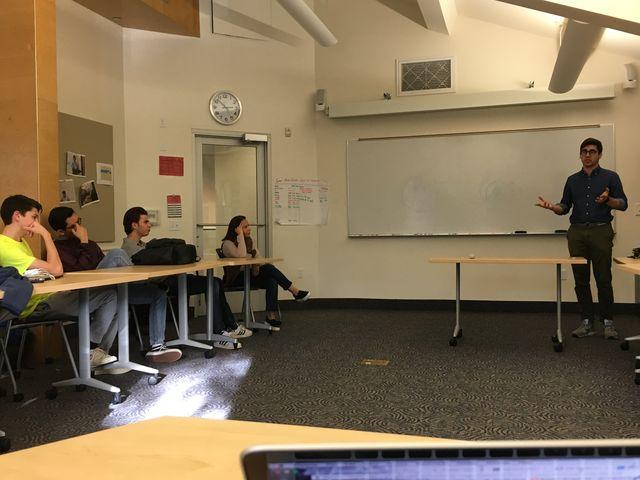 Nick Abouzeid '15 speaks to students about BitCoin. Credit: Anusha Mathur '20