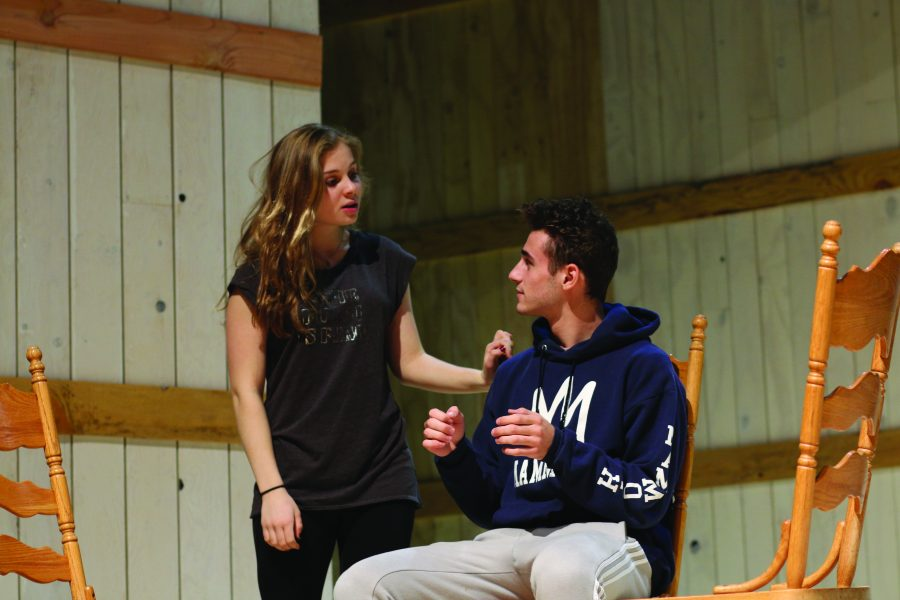 """From left to rightAndrea Yagher '20 and Ari Yaron '18 run through lines. Students prepare to be in """"Our Town,"""" a metatheatrical play with a minimalist set. The show will take place in early February."""