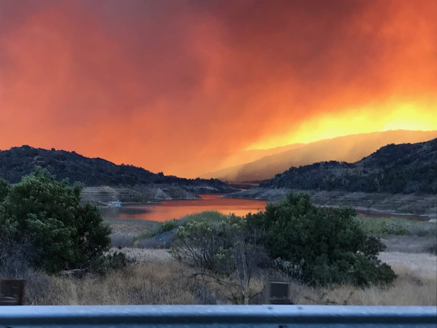 Smoke from the Thomas County fire covers Lake Casitas in Ventura. The fire, which was the largest wildfire in California history, forced some community members to evacuate.  Credit: Printed with permission of Henry Jugan