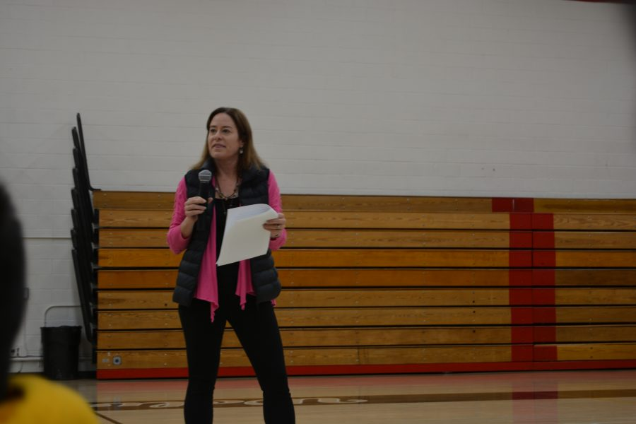 Head of Upper Schol Laura ross talks to community after security threat leads to school closure. Sophie Haber/Chronicle
