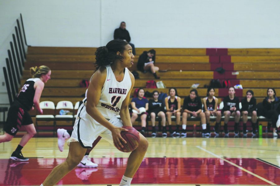 HARD IN THE PAINT: Forward Jayda Ruffus-Milner '18 drives against FSHA at home in a 64-33 blowout win Jan. 25. She averages 10.7 points per game and 7.6 rebounds per game. The team is 2-0 against FSH this season winning each by more than 30 points. Wing Melanie Hirsch '18 finished 13 points, 10 in the first quarter.  PHOTO CREDIT: Luke Casola / Chronicle