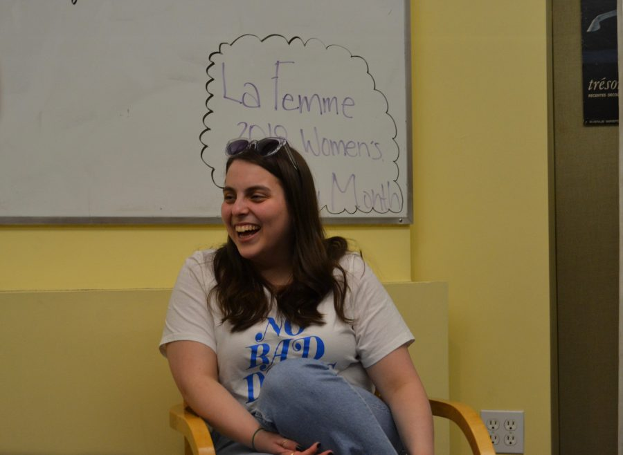 Beanie Feldstein '11 speaks to students about being a woman in the entertainment industry  and her time at Harvard-Westlake. Photo credit: Alex Goldstein/Chronicle