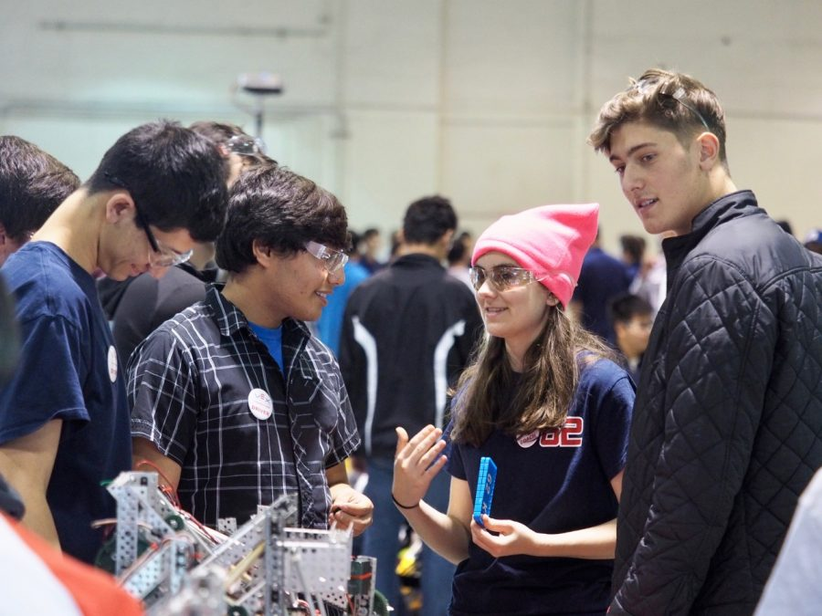 Justin Ansel '20, Danny Seplow '19, Coco Kaleel '20 and Cameron Schiller '19 discuss team strategies at the Southern California VEX Robotics Tournament Pomona. Credit: Coco Kaleel '20