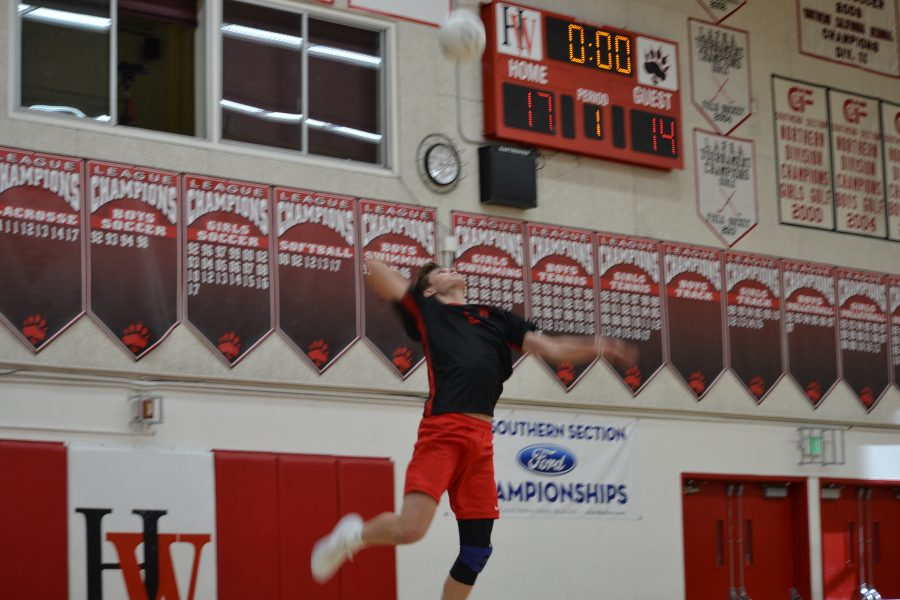 Serving it up!: Outside hitter Justin Eitner '18 serves the ball in the first set of the match.  Credit: Jackie Greenberg/Chronicle