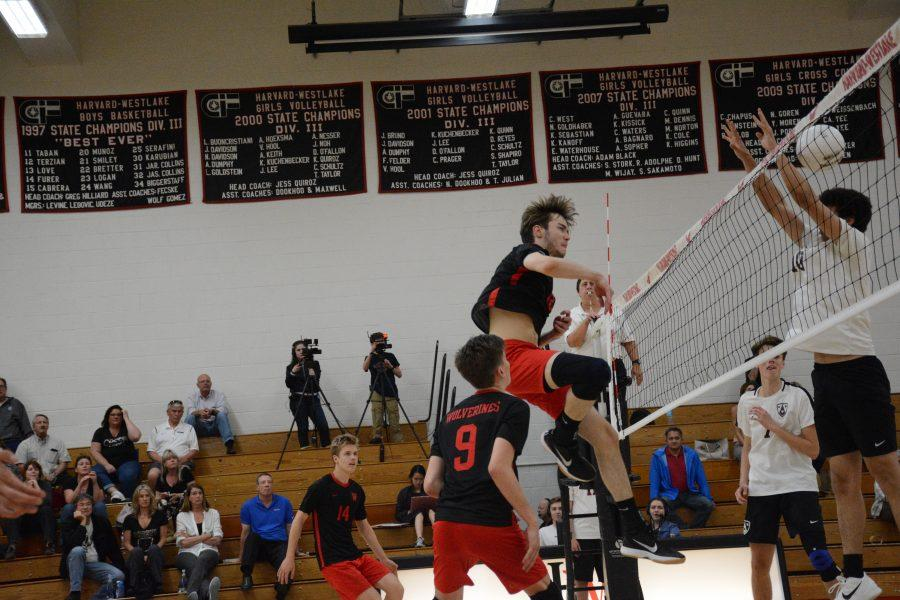Middle hitter Cole Welch '19 spikes the ball. Credit: Jackie Greenberg/Chronicle