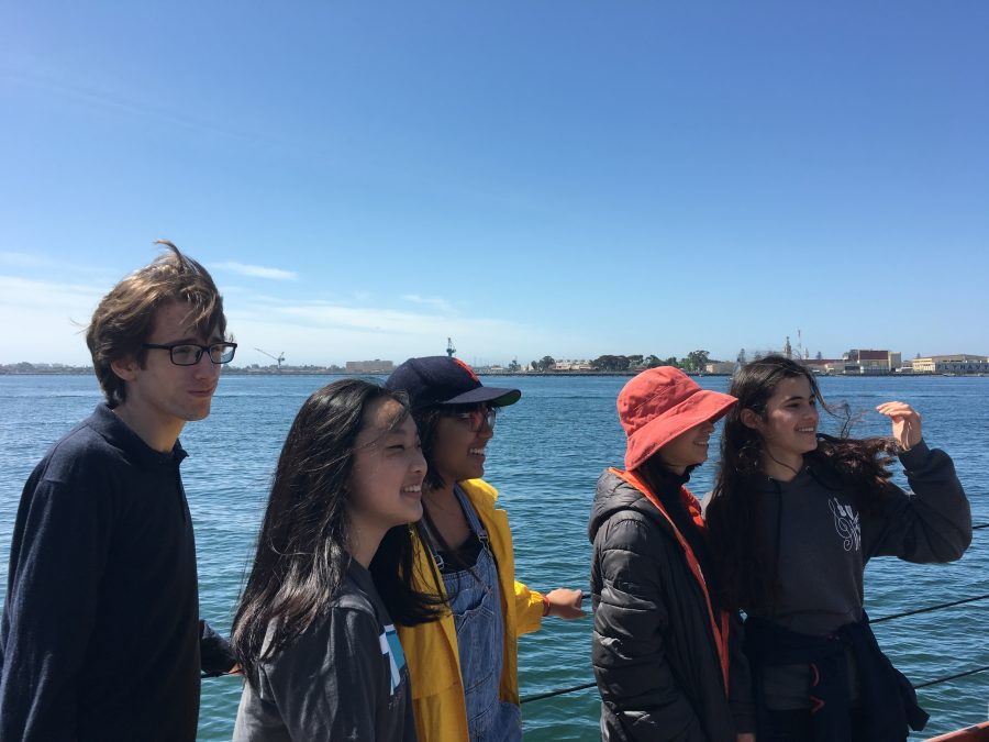 English III Honors students look for whales onboard the historic ship, the America. Credit: Sofia Heller/Chronicle
