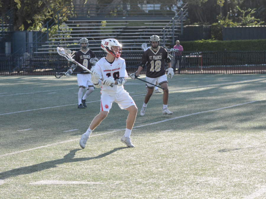 Brody+Listen+%2721+winds+up+a+shot+in+the+first+quarter+of+a+dominant+win+over+St.+Francis.+Listen+was+recently+called+up+to+Varsity.+Credit%3A+Asa+Saperstein%2FChronicle
