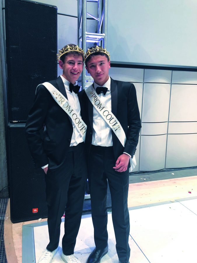 Members of the senior class elected Anthony Weinraub '18 and Eli Adler '18 as Prom Kings on May 19.  Students voted for whomever they wanted, without gender requirements. The couple shared a dance following the announcement. Credit: Emma Sessar '18