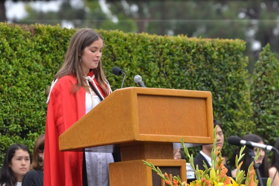 Head Prefect Ryan Stanford '18 speaks about courage at convocation. Credit: Noah Aire/Chronicle
