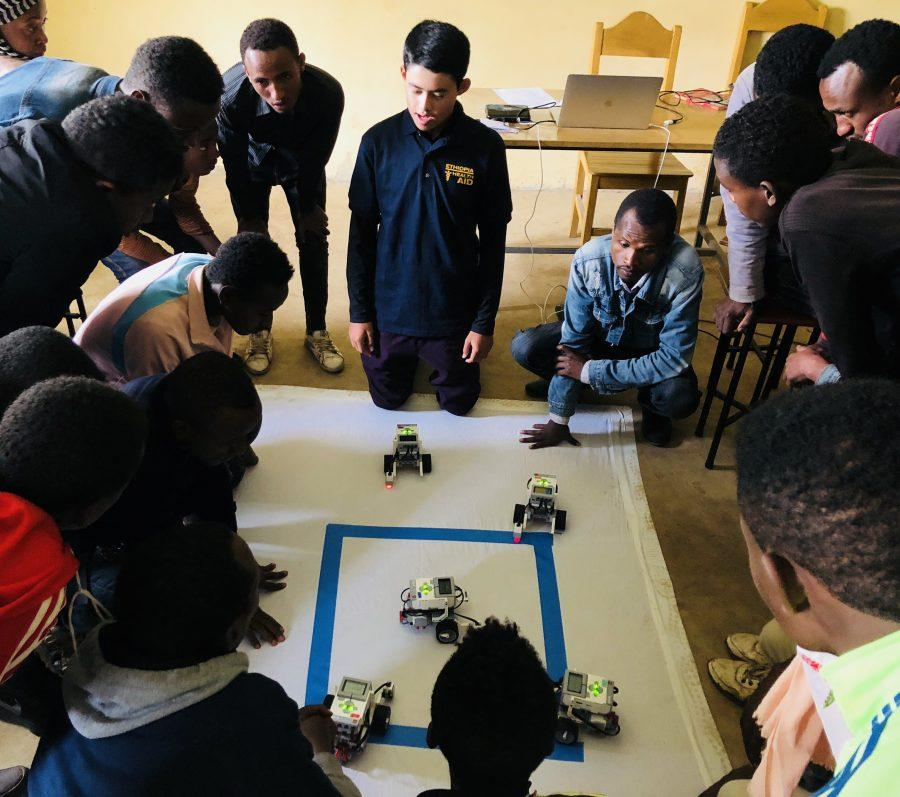 Jake Futterman '21 taught robotics and STEM ideas at Gode Primary School in July as the first phase of his overall vision to create a sustainable robotics program in rural Ethiopia. Printed with permission of Jake Futterman.