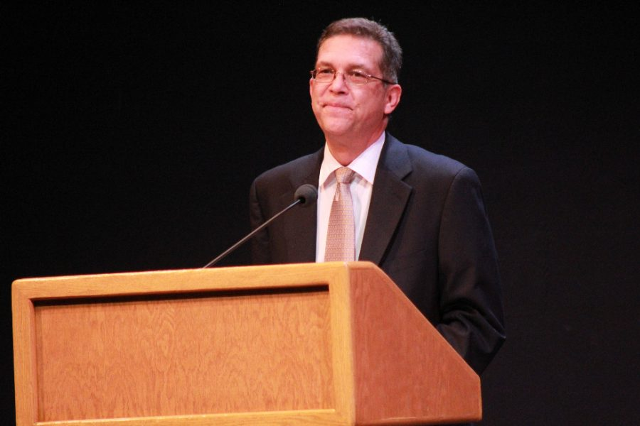Eric Zwemer speaks about honor at an assembly in 2013. Credit: Chronicle Archives