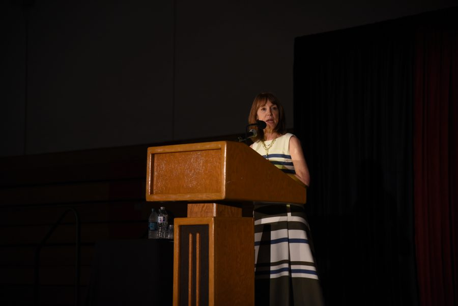 Lisa See spoke to the school community regarding the importance of being open to a more fluid interpretation of race and conversations about diversity. Credit: Ryan Albert/Chronicle