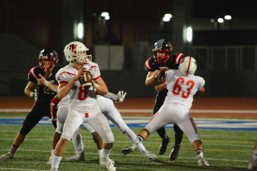 Quarterback+Jameson+Wang+%2720+throws+to+wide+receiver+Terrell+Long+%2721+for+only+touchdown+of+CIF+playoffs+round+1+matchup+against+Palos+Verdes.+Credit%3A+Keila+McCabe%2FChronicle