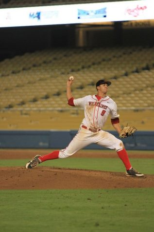 Flaherty pitches during the CIF final in 2013 at Dodger Stadium. Credit: Chronicle Archives