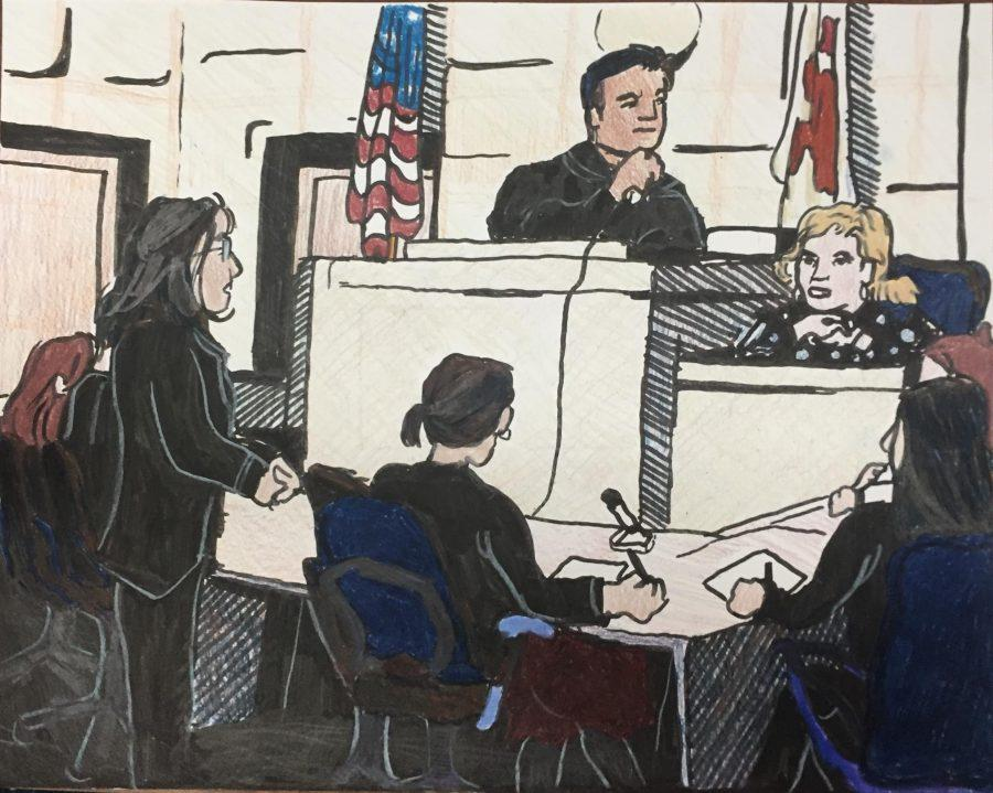 This winning drawing, by Courtroom Artist Esther Grover '19 depicts the school's Mock Trial team during a defense round.