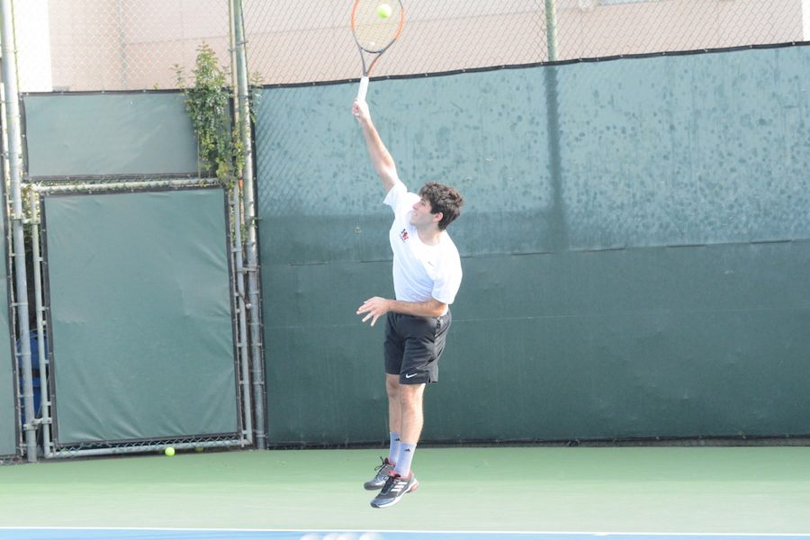 David+Arkow+%2720+serves+in+the+13-5+win+today+against+St.+Francis.