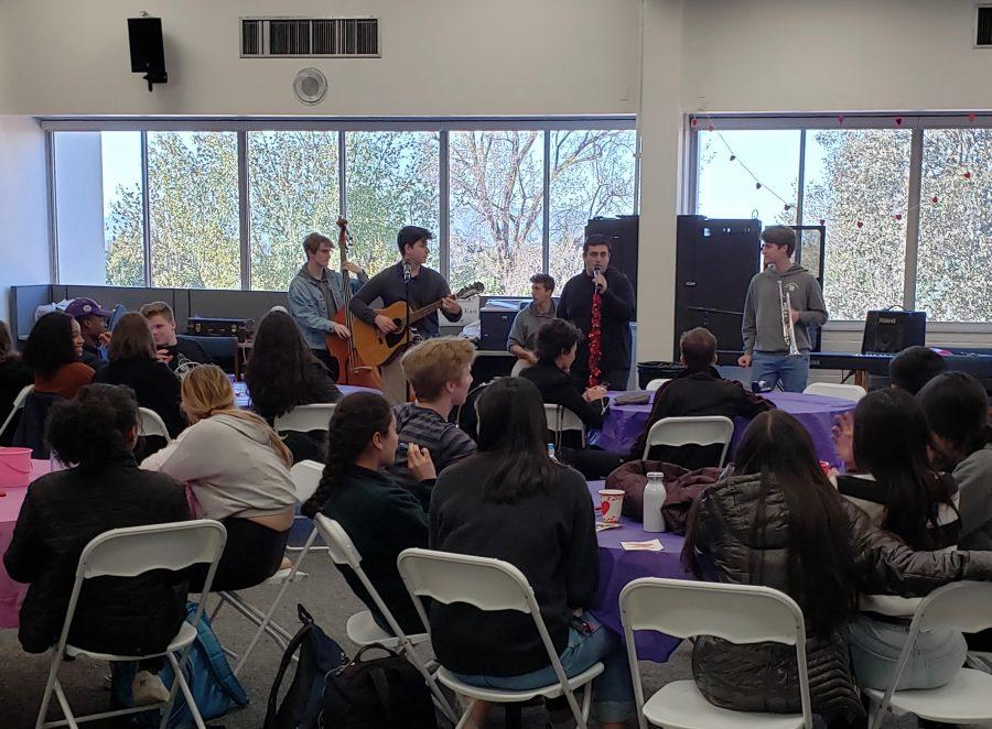 Members of The Jack Riley Experience perform at the Valentine's Day-themed Coffeehouse. Credit: Frank Jiang