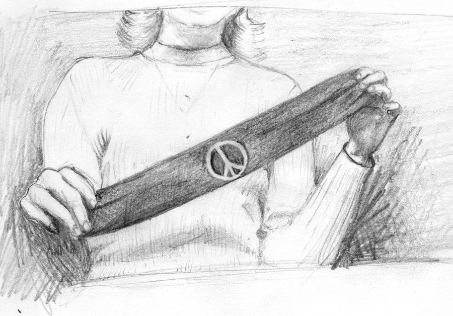 This drawing depicts the armband that Mary Beth Tinker wore in the 1960s to protest the Vietnam War. The court case this created was pivotal in gaining free speech in schools.
