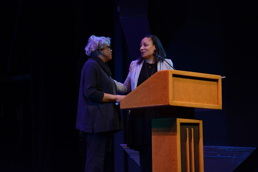 Head of Diversity, Equity, and Inclusion Janine Jones thanks retired Head of School at the Center of Early Education Reveta Bowers during her opening speech. Bowers is a leading expert in independent school education.  Credit: Caitlin Chung