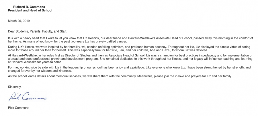 Associate Head of School passes away