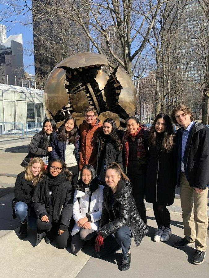 MUN members visit the U.N. Headquarters in New York, where they participated in the National High School MUN conference from March 6-9.  During the event, most of the club represented South Sudan over multiple different committees. Printed with permission of Will Evans.