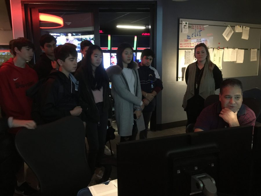 Behind the Scenes: Students in Introduction to Broadcast Journalism, Broadcast Journalism I and Broadcast Journalism II learn about the different functions of a control room and speak to professionals during their visit to Fox Sports Studios Feb. 14.