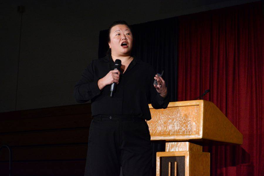 All school assembly speaker Rosetta Lee addresses the issue of microaggression. (Credit: Crystal Baik /Chronicle)