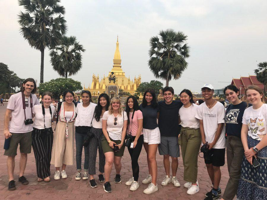 Students visit a historical site in Laos, where they created short films over spring break.  Credit: Astor Wu/Chronicle