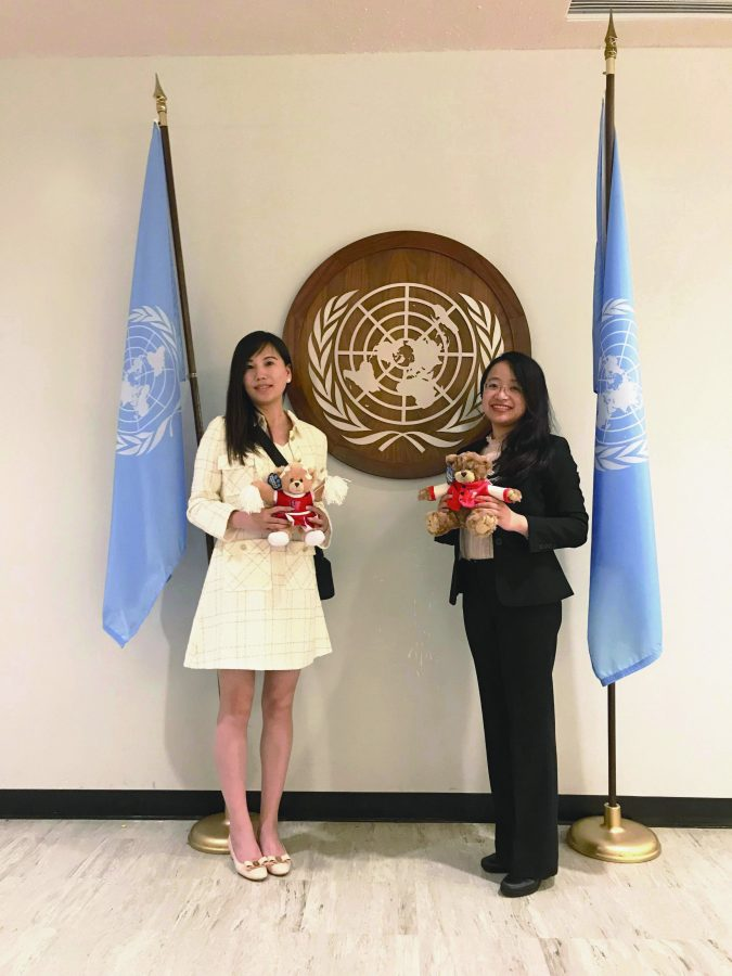 Chinese teachers Kattie Xu and Chen Chen pose for a picture at the UN after being honored for their work.   Credit: Kattie Xu