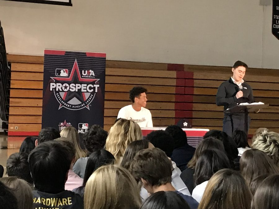 Drew Bowser '20 being honored by USA Baseball at all-school assembly. Credit: Lindsay Wu/Chronicle