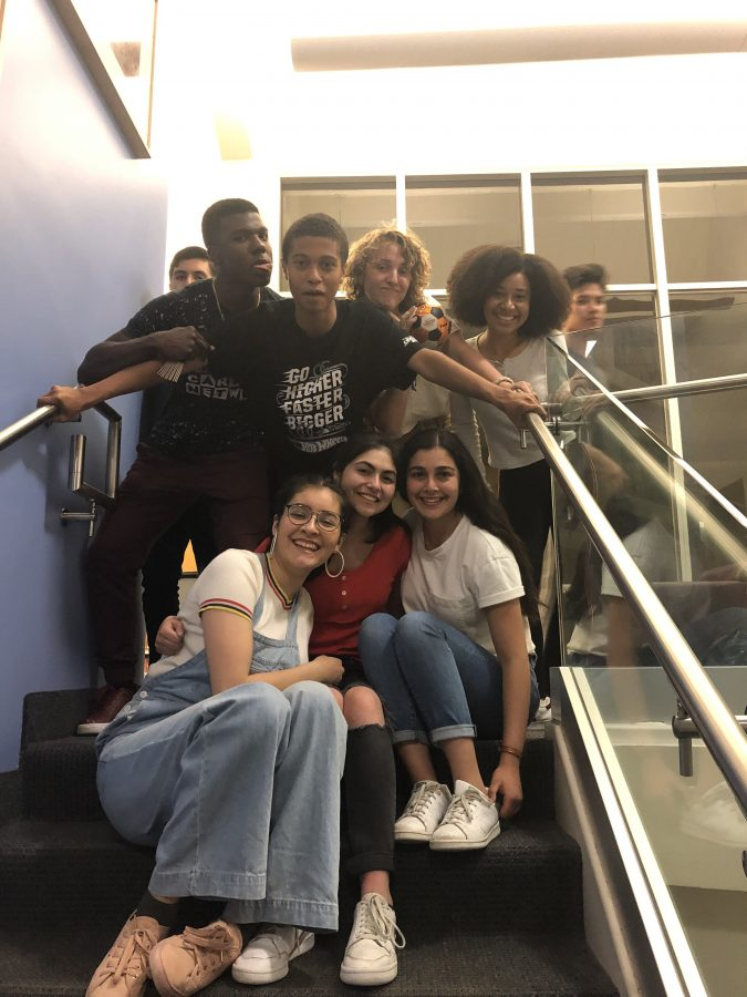 Members of LAHSO sit on the stairs during their first independent sleepover.  Credit: Marina Nascimento/ Chronicle