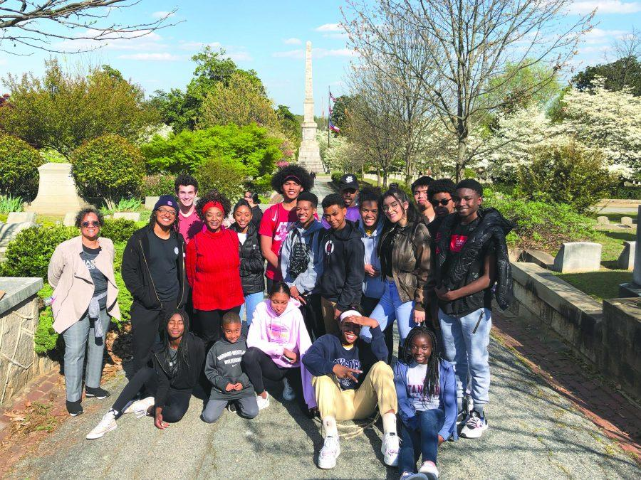 Students pose at Oakland Cemetery in Atlanta, Georgia. Members of the civil rights movement tour visited different historical locations across several southern states.   Credit: Ethan Lachman/ Chronicle