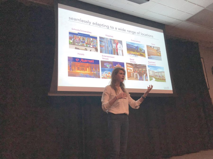 Brooke Levin '12 spoke to students in the HW Venture Incubator Program about her startup company, (Ate)ifi. Her company collects sales statistics and broadcasts the nutritional values of food items sold in vending machines. Credit: Sarah Mittleman/Chronicle.