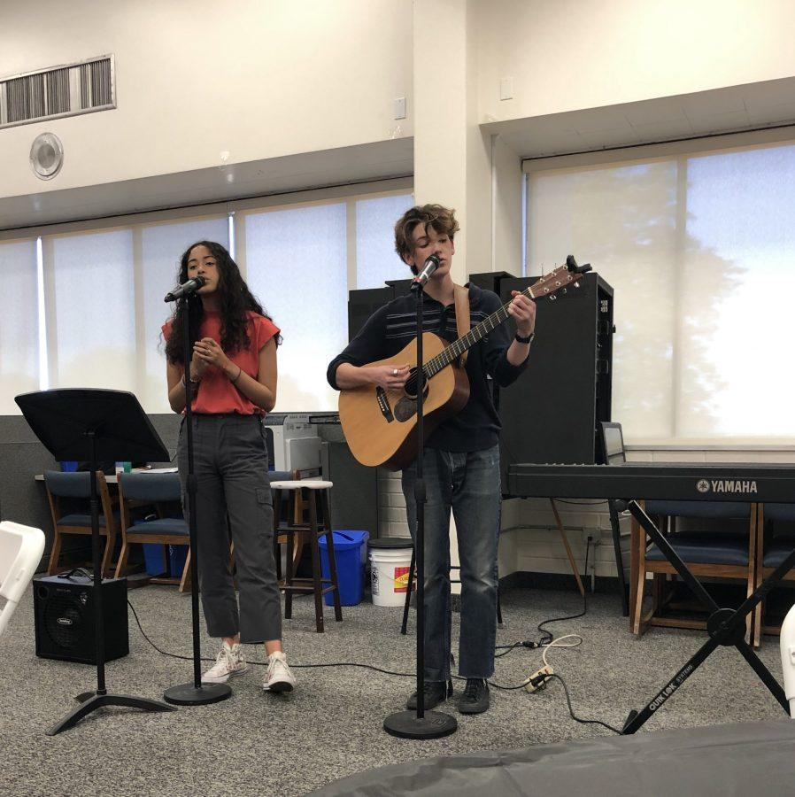 Lauren Juzang '20 and Lucca Dohr '20 perform Wallowing Trees, an original piece. Credit: Quincey Dern/Chronicle