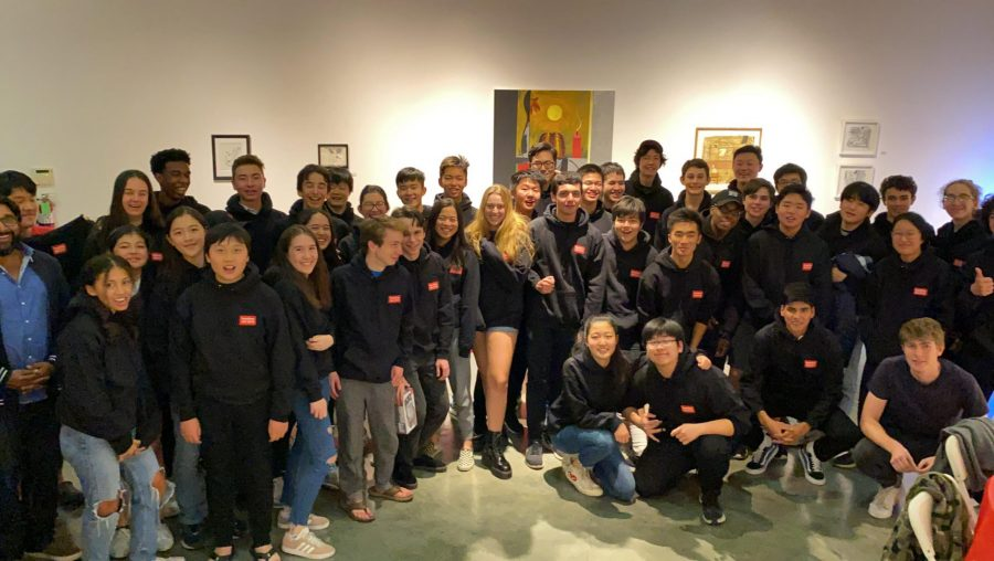 Middle and Upper school students group together for a photo in their Hackathon sweatshirts. Credit: Jacky Zhang